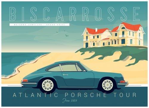 plaque metal déco Atlantic Porsche Tour Biscarrosse