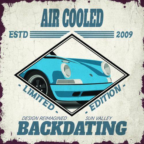 Plaque métal de garage Porsche Air Cooled Bleue
