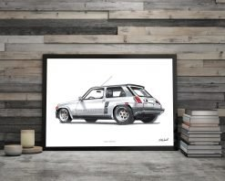 Cadre Affiche Renault 5 Turbo illustration DBCarillustrations