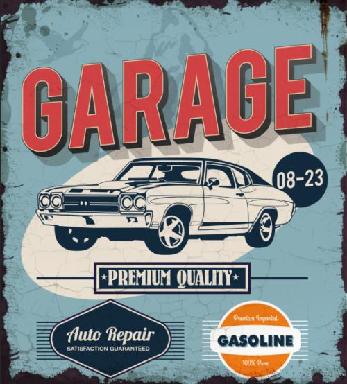 Plaque métal décoration garage vintage premium service
