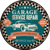 Plaque métal décoration garage vintage Ronde service repair