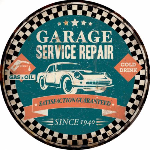 Plaque métal décoration garage vintage Ronde service repair