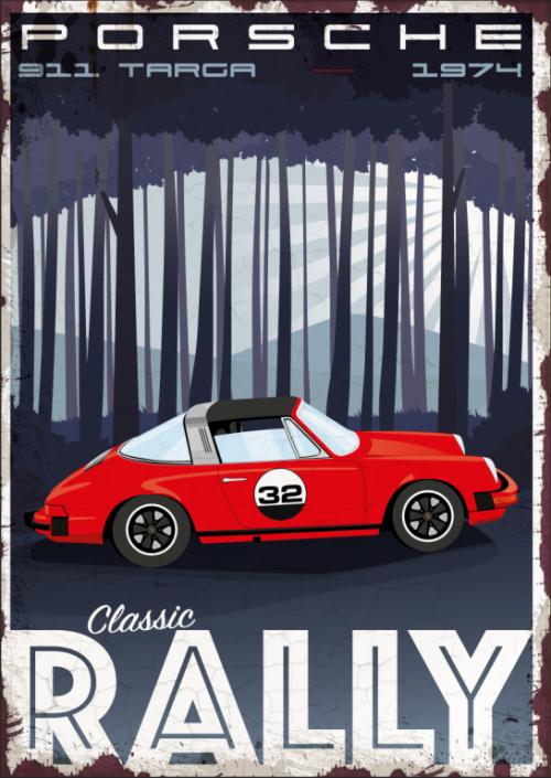 Plaque déco métal Porsche Targa Garage