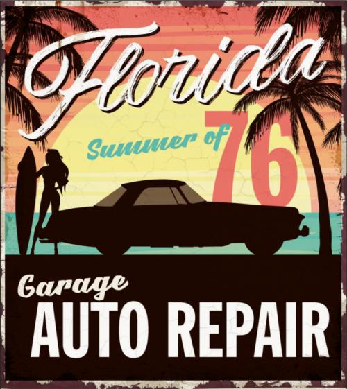 Plaque métal Garage déco vintage