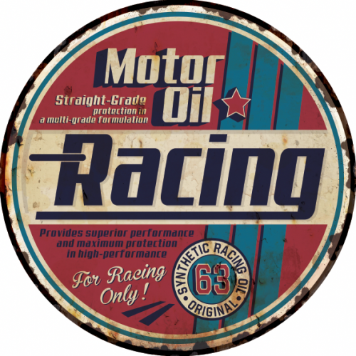 Plaque métal vintage motor oil racing