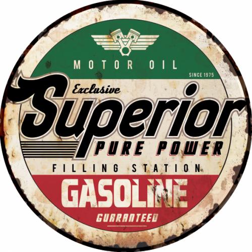 Plaque métal déco superior gazoline