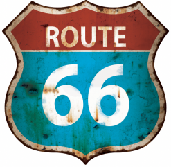 Plaque métal vintage bleu route 66