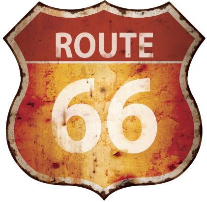 plaque métal rouillé route 66