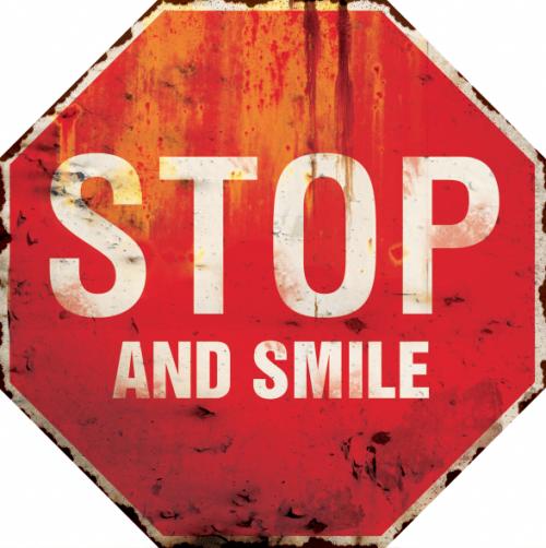 plaque métal vintage stop and smile