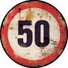 plaque métal déco 50 km heure