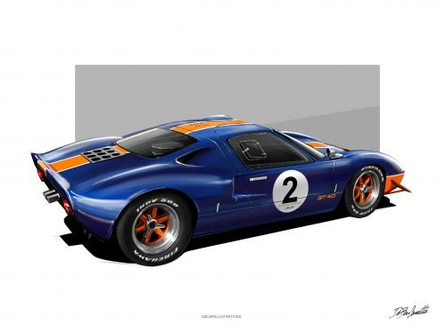Poster/illustration DBCarillustrations Ford GT40