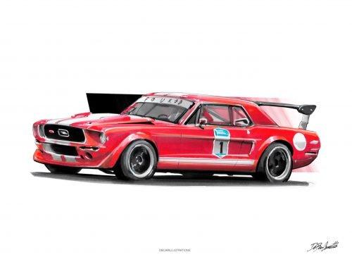 illustration DBCarillustrations Poster Ford Mustang
