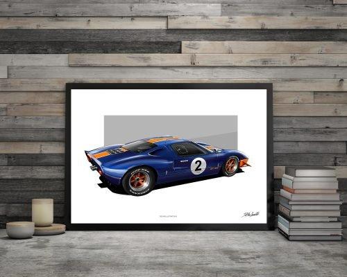 illustration DBCarillustrations Poster Ford GT 40
