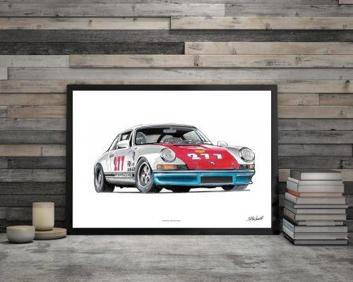 illustration Poster Porsche 911 Magnus walker DBCarillustrations