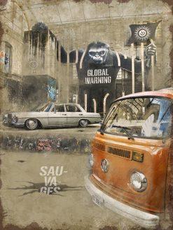 Optez pour une plaque métal vintage Mercedes et combi VW. Fabrication made in France