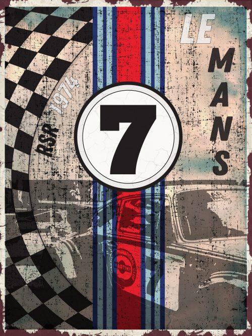 Plaque Métal Vintage Porsche Martini RSR