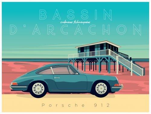 Plaque métal Porsche Cabane Tchanquée Bassin Arcachon