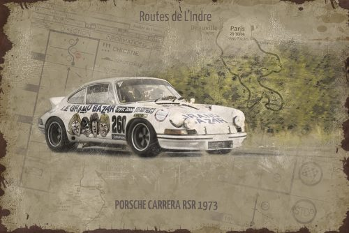 Plaque métal de garage Porsche Carrera RSR Le Grand Bazar 1973