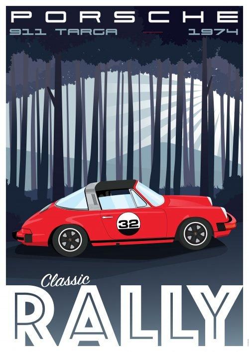 Affiche Poster déco automobile Porsche Targa