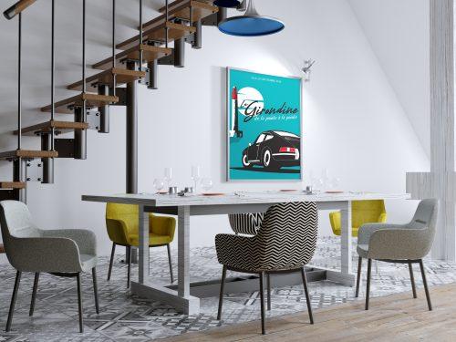 Affiche Poster déco Porsche 912 La Girondine