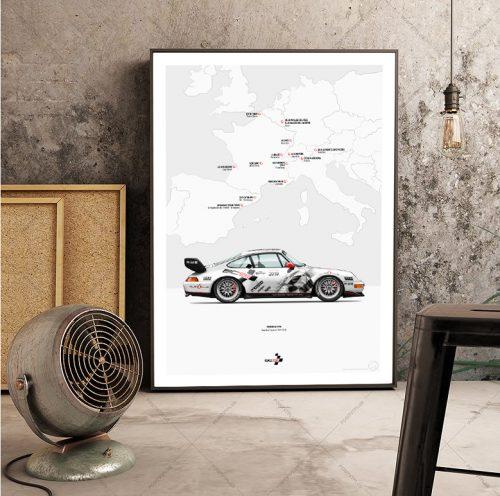 affiche Last Corner Porsche 993 ambiance vintage