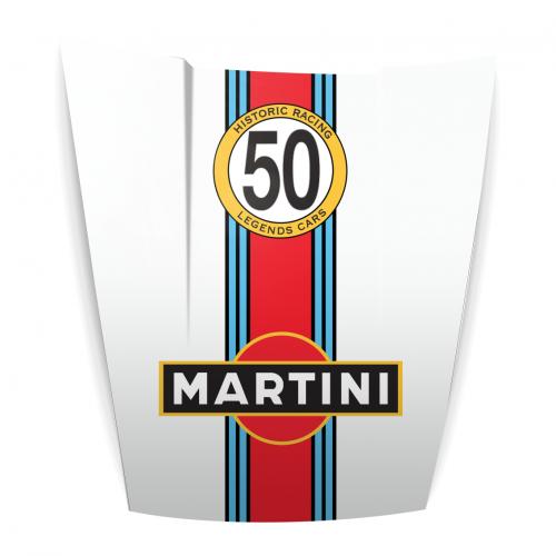 Capot Porsche déco Martini Blanc