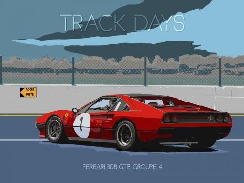 Plaque métal vintage Ferrari 308 GTB Groupe 4