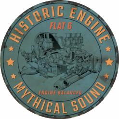Plaque métal moteur flat 6 vieillie